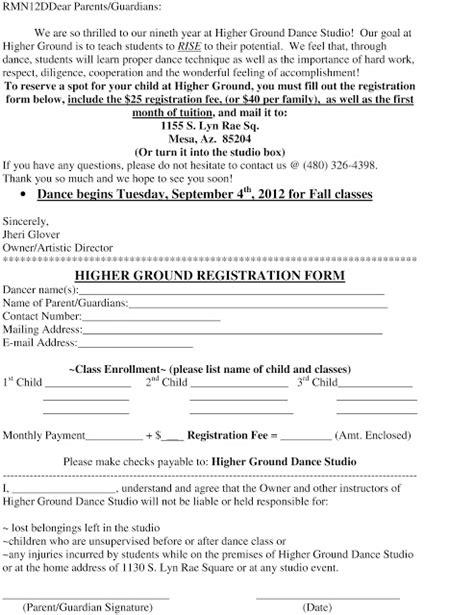 Registration Form Format For Dance Class