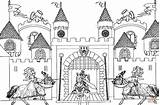 Coloring Castle King Arthur Pages Printable Colouring Medieval Drawing Knights Times Dot Colorings Games Puzzle sketch template