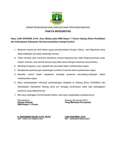 Contoh Surat Fakta Integritas Guru - Download Kumpulan Gambar