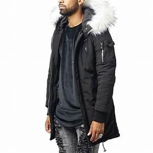 Manteau Homme Avec Fourrure : project x parka homme noir capuche fourrure blanche de ~ Melissatoandfro.com Idées de Décoration