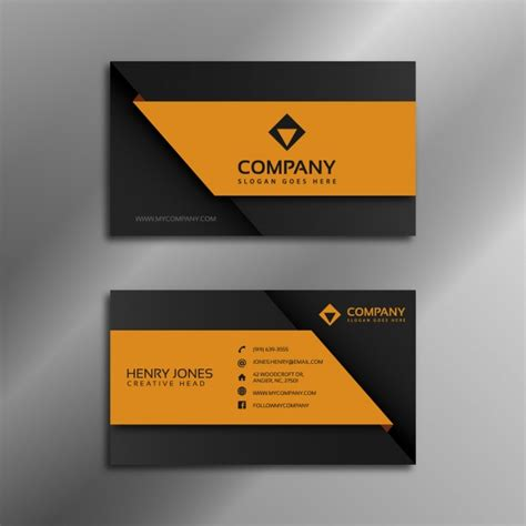 black  orange business card vector
