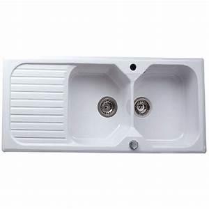 Evier Cuisine Ceramique : evier encastrer gr s blanc garrigue 2 bacs avec ~ Premium-room.com Idées de Décoration
