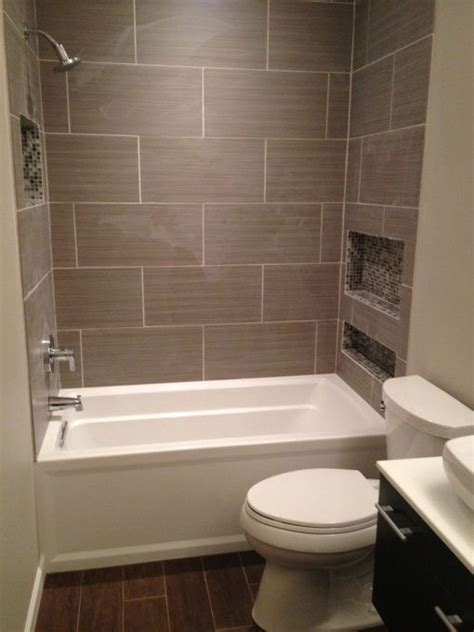 Tiling A Bathtub Alcove by Larger Rectangular Tiles Around A White Alcove Tub Ours