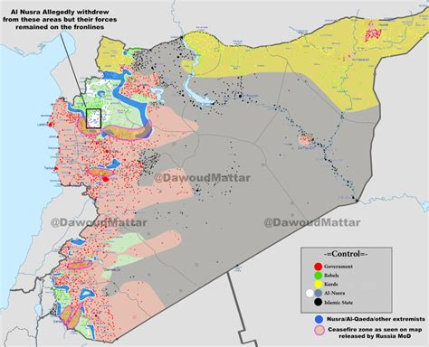 complete battle map  syria  implemented ceasefire