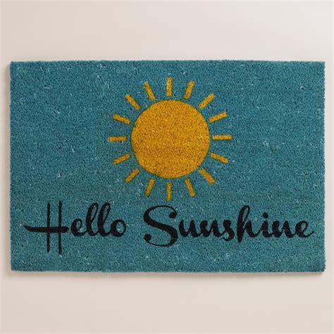 Hello Sunshine Coir Doormat  Everything Turquoise