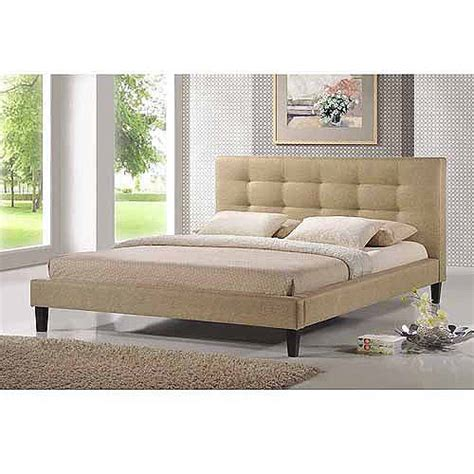 baxton studio quincy king linen platform bed dark beige