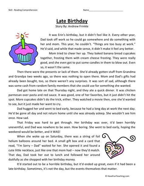 reading comprehension worksheet late birthday
