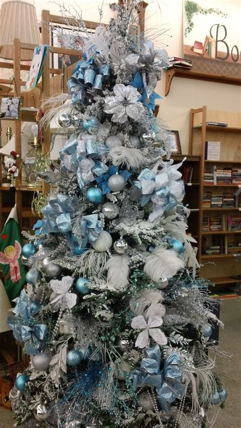 silver christmas tree decor 35 frosty blue and white christmas d 233 cor ideas digsdigs