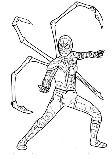 iron spider in infinity war coloring page free printable