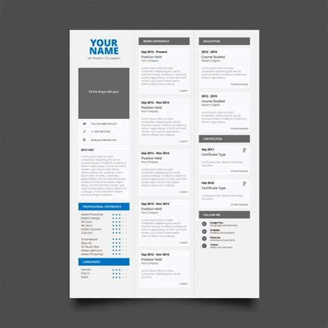 Resume Vector File by Ai Classic Resume Template Vector Free Pikoff