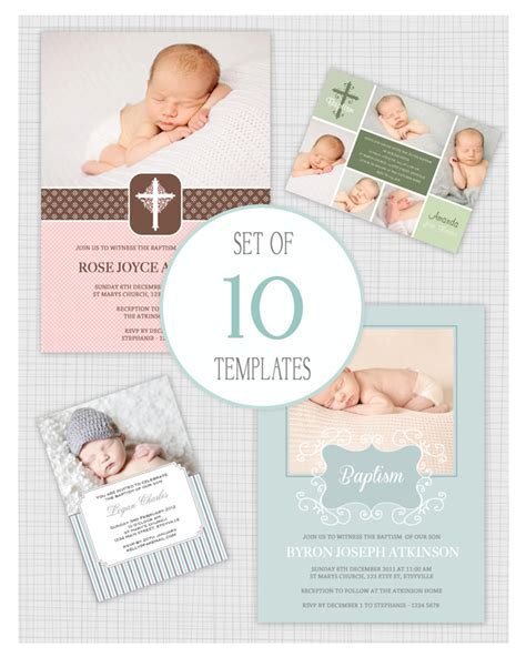10 PSD Baptism and Christening Invitation Templates Mixed