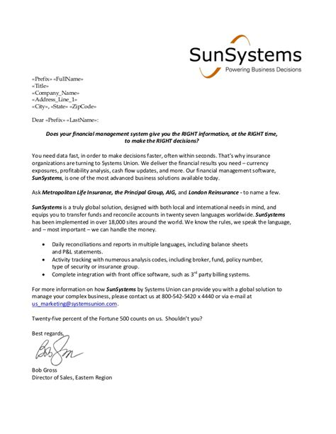 financial services sle cover letter sle of unsolicited application letter for business