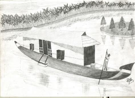 Houseboat Sketch by Houseboat Pencil Jammers