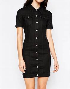Love moschino Denim Dress With Lace Up Back in Black | Lyst
