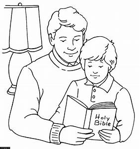 Happy Fathers Day Father and Son Reading the Bible ...