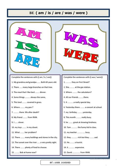 17 free esl was were worksheets