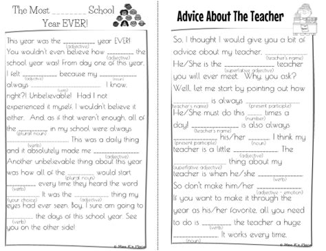 End Of Year Mad Libs For Kids