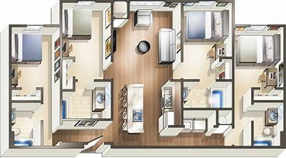 Bedroom Floor Plans Four Apartments Plan Student