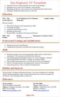 and gas cv format gas engineer cv template 2