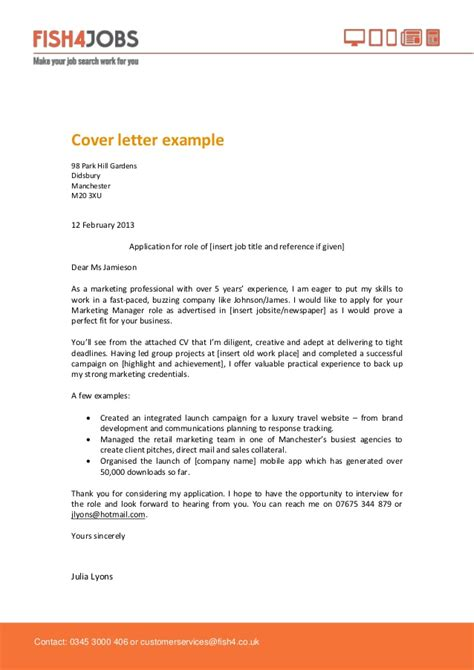 fish and cover letter fish4jobs cover letter exle