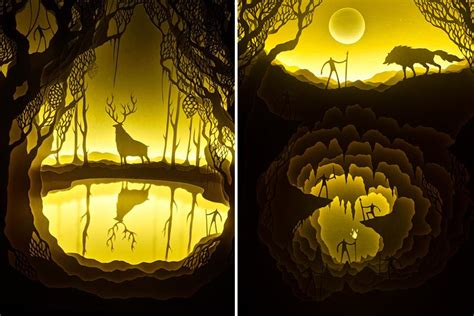 paper cut light box awesome ancient fairytales in papercut light boxes by hari
