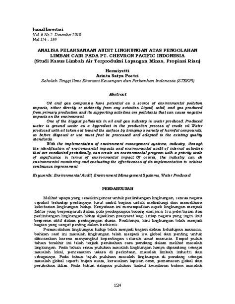 (PDF) ANALISA PELAKSANAAN AUDIT LINGKUNGAN ATAS PENGOLAHAN