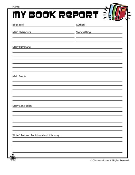 book report template book report forms