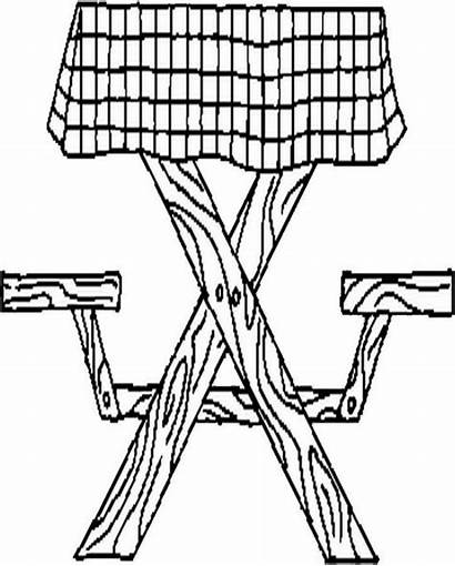 Picnic Table Coloring Pages Printable Blanket Drawing