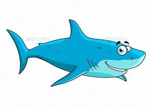 Swimming Shark Cartoon Character by VectorTradition ...