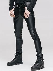 Pantalon gothique homme look cuir noir devil fashion coupe près du corps