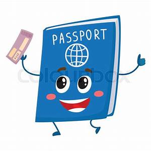 Cute and funny passport, identity document character