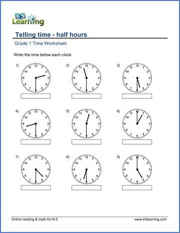 grade 1 math worksheet telling time half hours k5