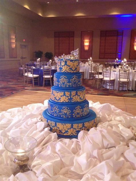 royal blue  gold indian wedding cake indian wedding