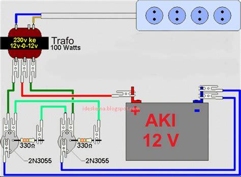 rangkaian membuat inverter dc to ac sederhana memakai transistor 2n3055 skema rangkaian elektro