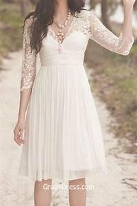 scalloped v neck 3 quarter sleeve empire waist beautiful With empire waist short wedding dress
