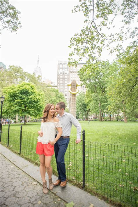 madison square park engagement  nyc esther greg
