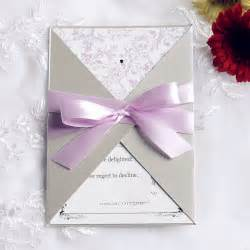 fancy wedding invitations pink and gray pocket ribbon wedding invitations ewpi090 as low as 1 69