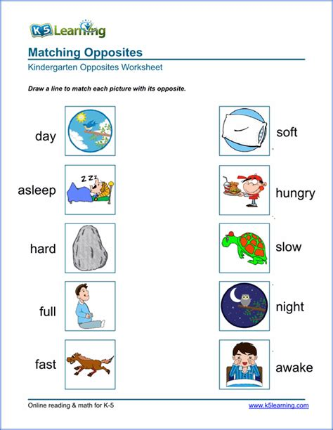 printable opposite worksheets for preschoolers free preschool kindergarten opposites worksheets printable k5 learning
