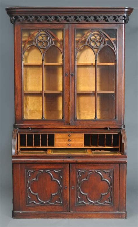 jjw meeks gothic revival secretary antique furniture