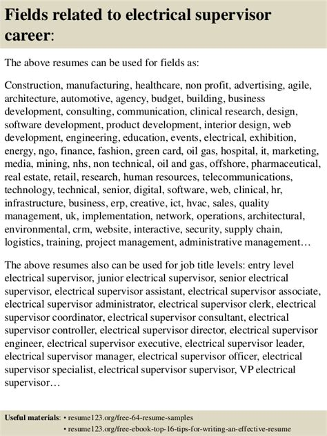 Electrical Supervisor Curriculum Vitae by Top 8 Electrical Supervisor Resume Sles