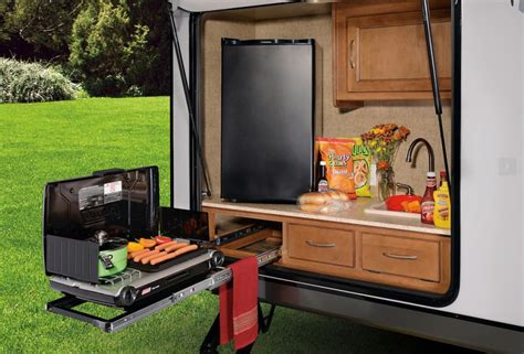stainless steel stove and refrigerator 10 rvs with amazing outdoor entertaining kitchens