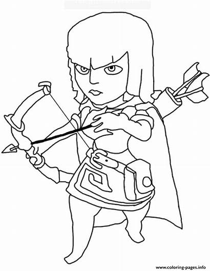 Clash Coloring Pages Royale Archer Printable Getcolorings