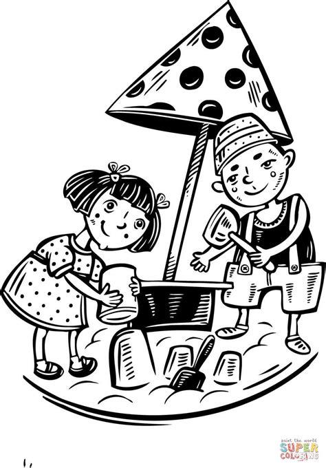 disegni di bambini che giocano al mare incantevole bambina che gioca disegno da colorare