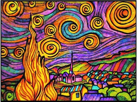 colour  picture pens included van gogh starry night