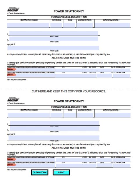 durable power of attorney form for california california vehicle power of attorney form power of
