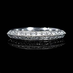 25ct diamond antique style 18k white gold knife edge With knife edge wedding ring