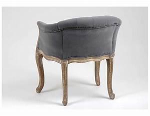 Fauteuil Cabriolet Gris : fauteuil cabriolet de couleur gris en velours capitonn de ~ Teatrodelosmanantiales.com Idées de Décoration