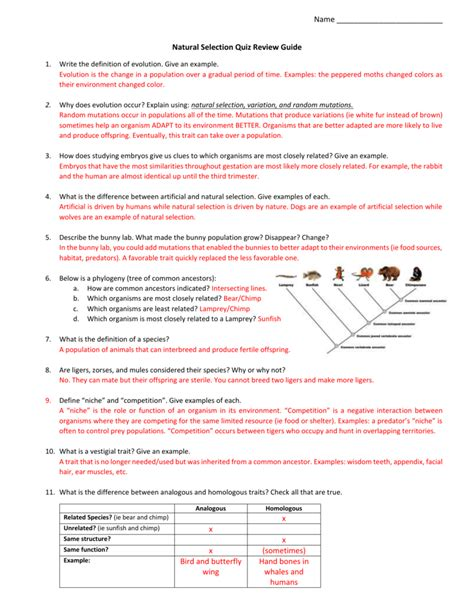 If possible, discuss your answer with your classmates and teacher. (Natural Selection Quiz Review Guide Answer Key (2))