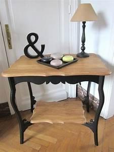 Peindre Au Passé Simple : table appoint noire et bois agatha relook par ma bulle ~ Melissatoandfro.com Idées de Décoration