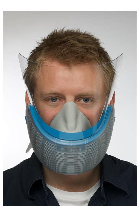 Pólmaska maska ochronna AIR-ACE niebieska z oslona na twarz Visor w uzyciu - Diplomat Poland ...
